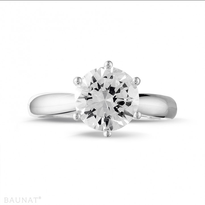 2.50 karaat diamanten solitaire ring in platina