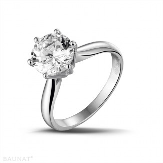 - 2.50 karaat diamanten solitaire ring in platina