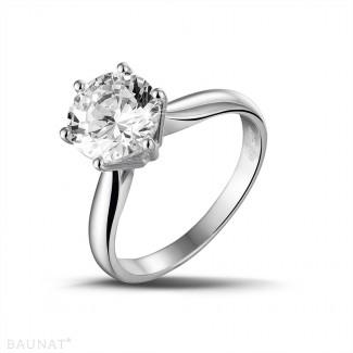 2.50 karaat diamanten solitaire ring in platina