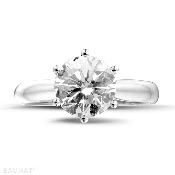 3.00 karaat diamanten solitaire ring in platina