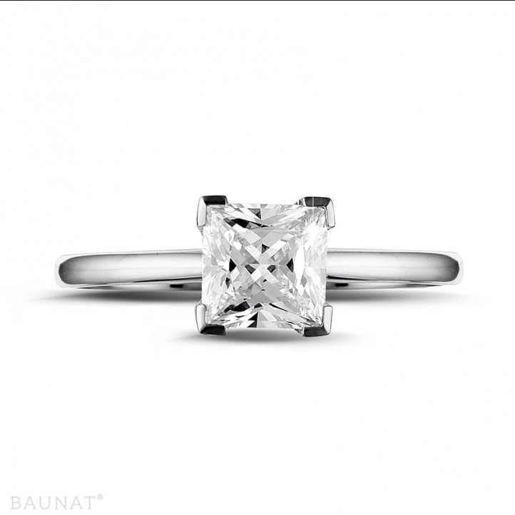 1.25 karaat solitaire ring in platina met princess diamant