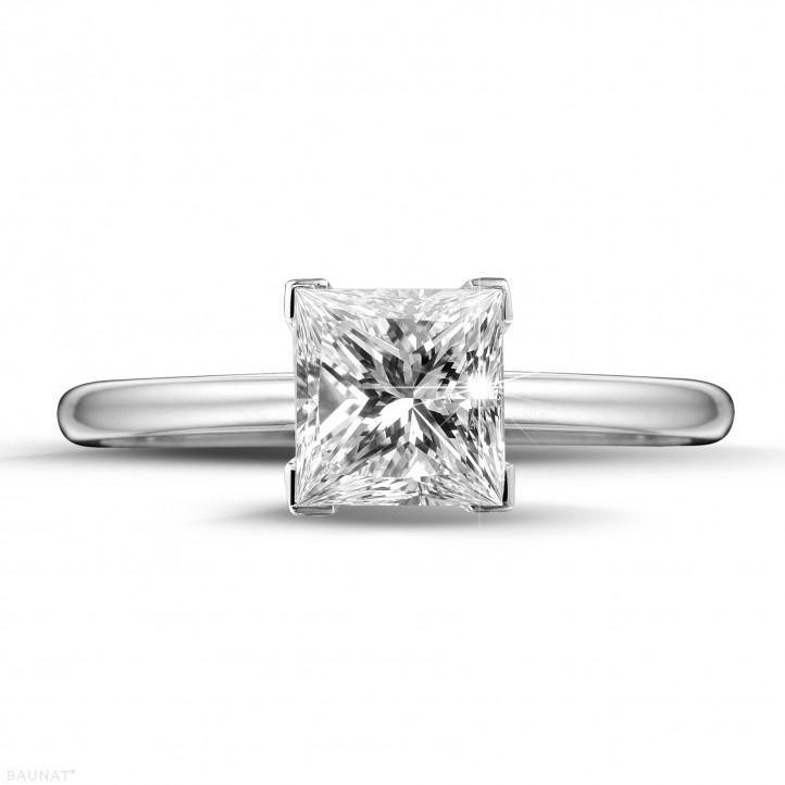 1.50 karaat solitaire ring in platina met princess diamant