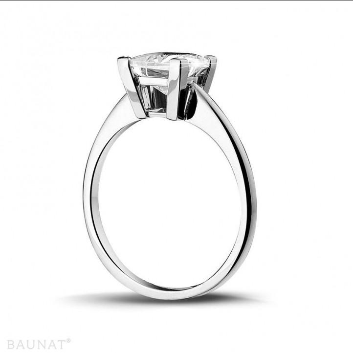 2.50 karaat solitaire ring in platina met princess diamant