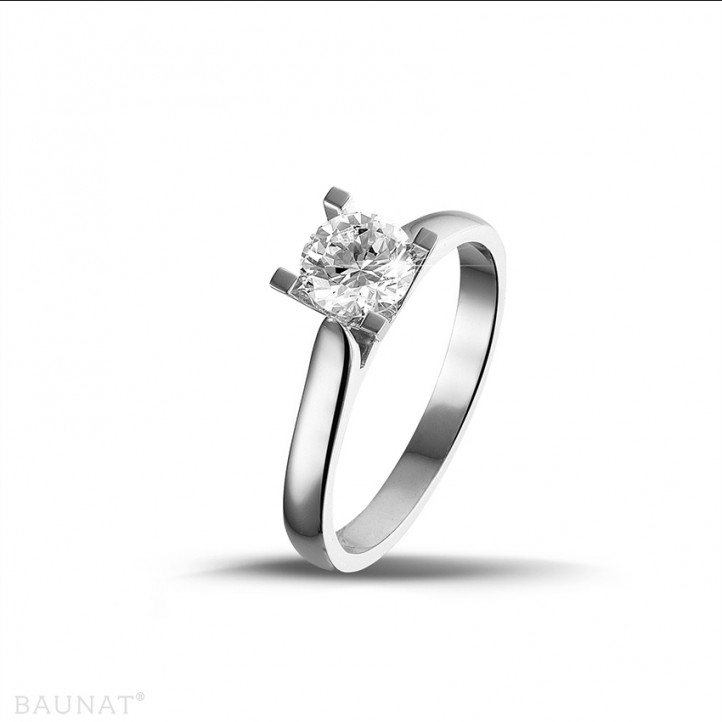 0.70 karaat diamanten solitaire ring in wit goud