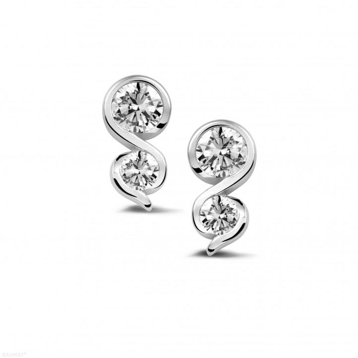 0.70 caraat diamanten oorbellen in wit goud