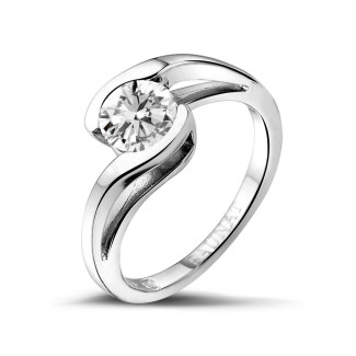 1.00 caraat diamanten solitaire ring in wit goud