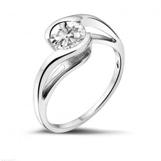0.70 caraat diamanten solitaire ring in wit goud
