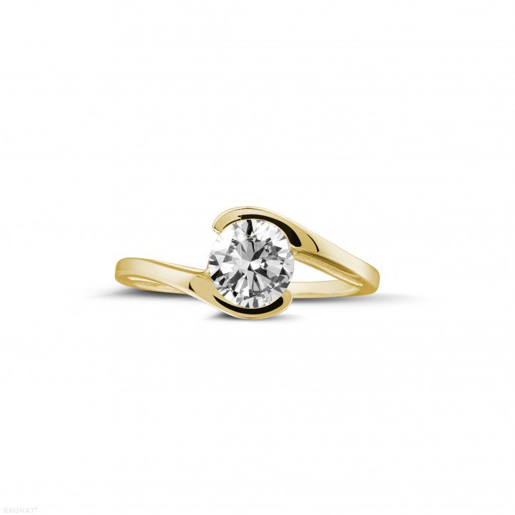 0.70 caraat diamanten solitaire ring in geel goud