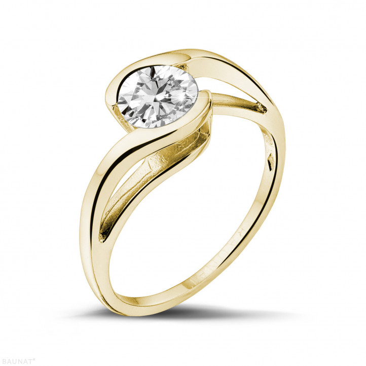0.70 karaat diamanten solitaire ring in geel goud