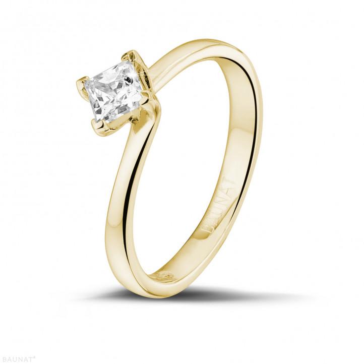 0.50 karaat solitaire ring in geel goud met princess diamant
