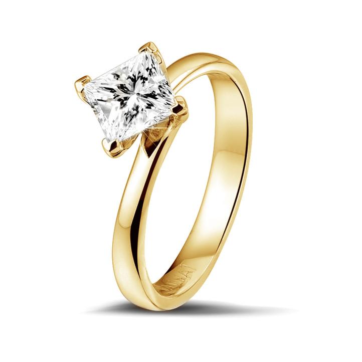1.00 karaat solitaire ring in geel goud met princess diamant