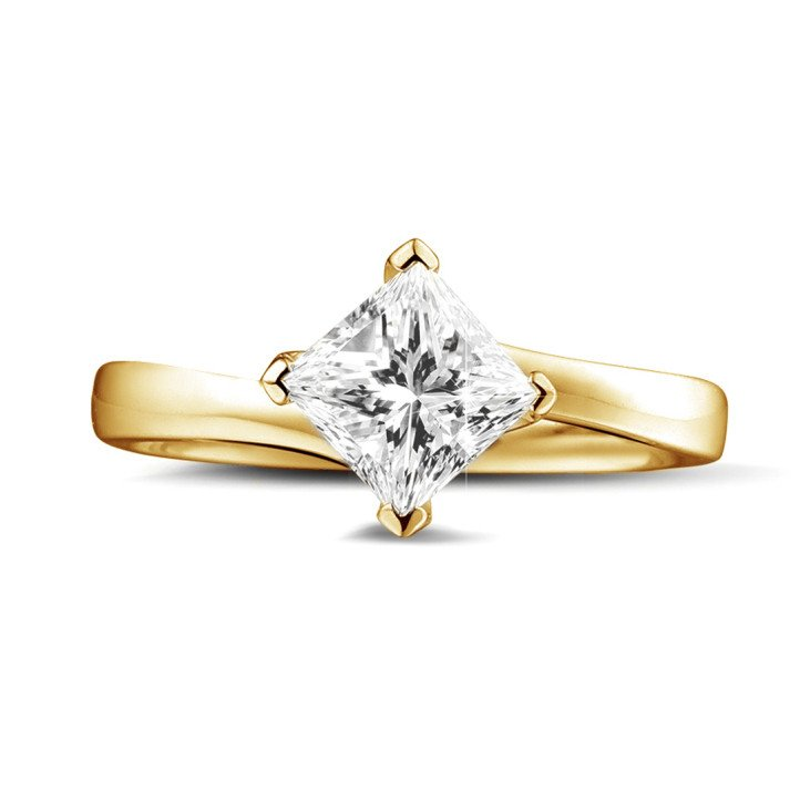 1.00 caraat solitaire ring in geel goud met princess diamant