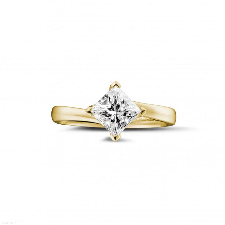 1.25 karaat solitaire ring in geel goud met princess diamant
