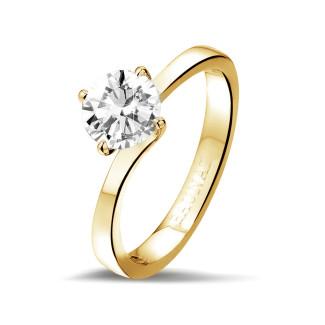 Ringen - 1.00 karaat diamanten solitaire ring in geel goud