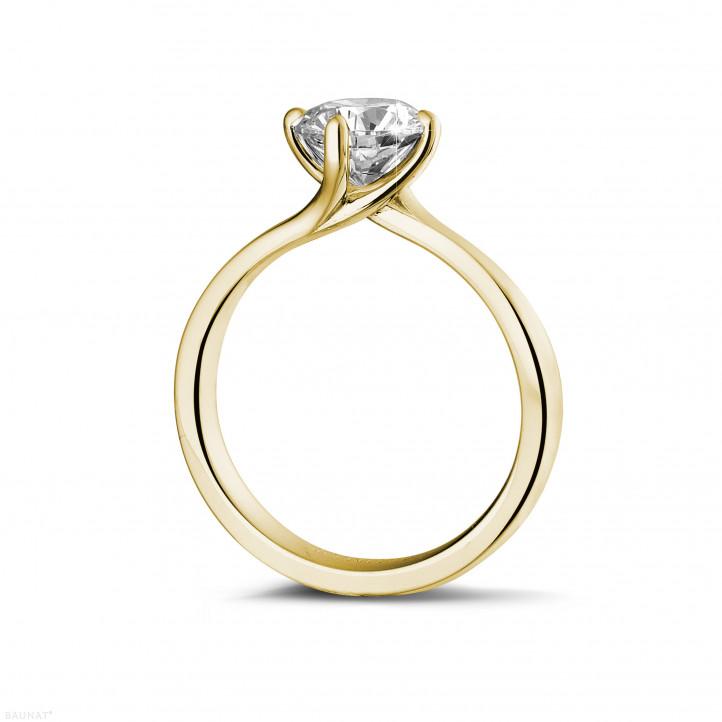 1.25 karaat diamanten solitaire ring in geel goud