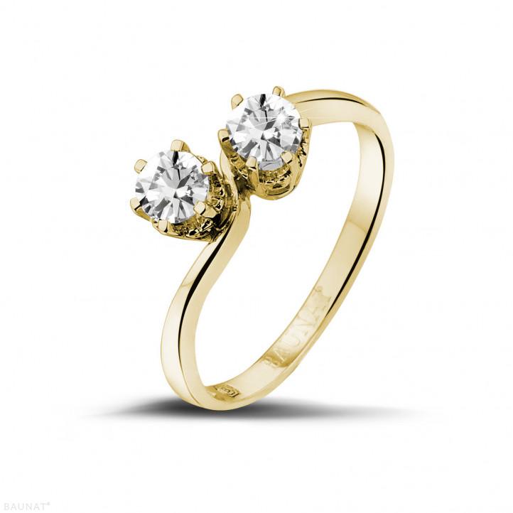 0.50 karaat diamanten Toi et Moi ring in geel goud
