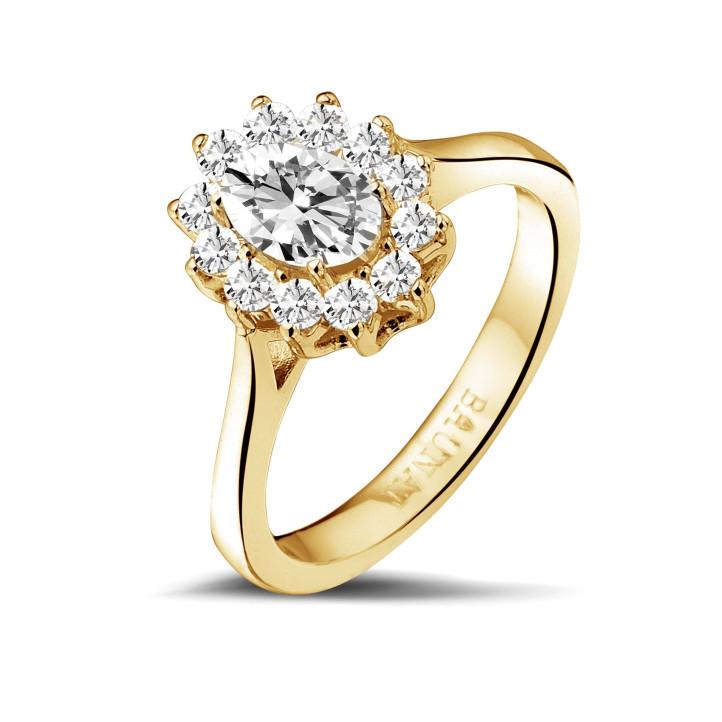 1.00 caraat entourage ring in geel goud met ovale diamant