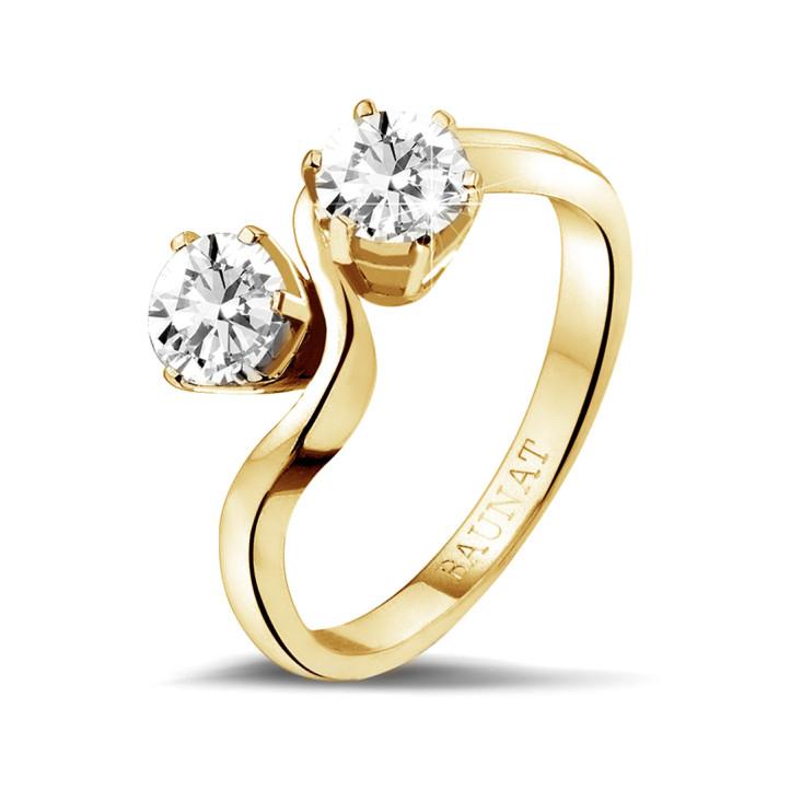 1.00 caraat diamanten Toi et Moi ring in geel goud