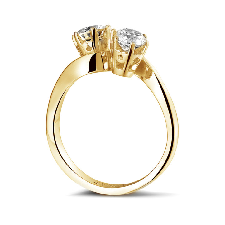 1.00 karaat diamanten Toi et Moi ring in geel goud