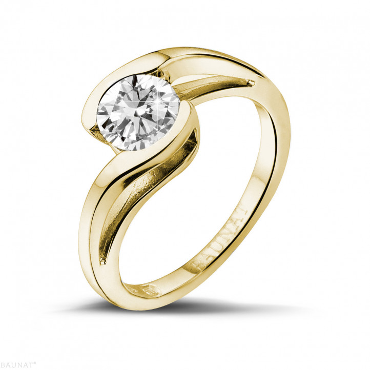 1.00 karaat diamanten solitaire ring in geel goud
