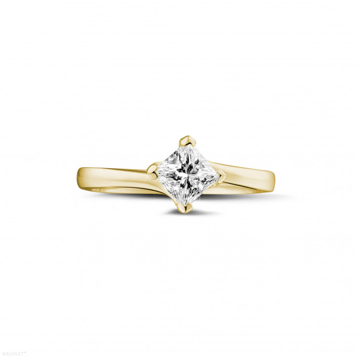 0.70 caraat solitaire ring in geel goud met princess diamant