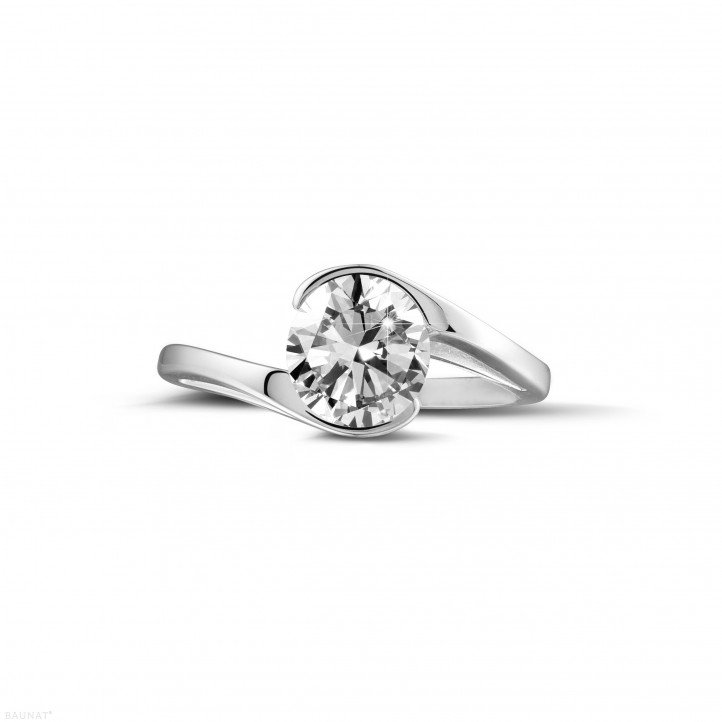 1.25 caraat diamanten solitaire ring in wit goud