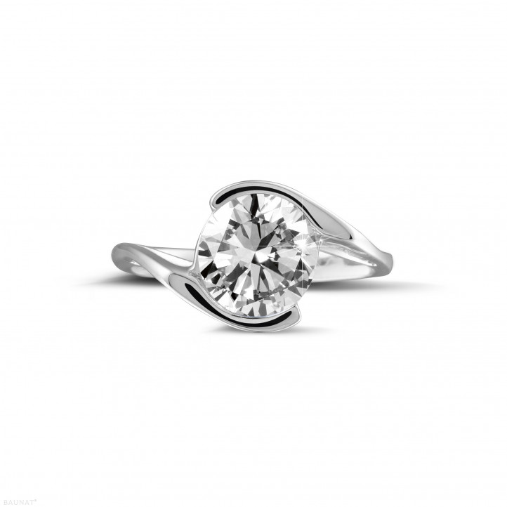 2.00 caraat diamanten solitaire ring in wit goud