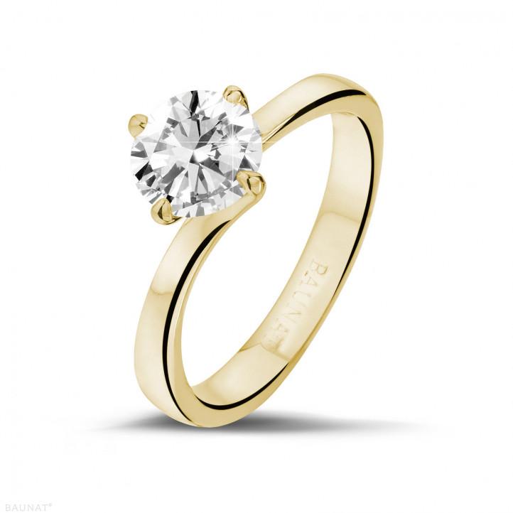 1.25 caraat diamanten solitaire ring in geel goud
