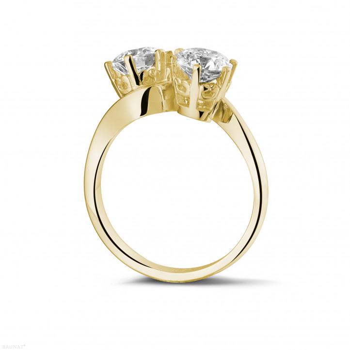 1.50 caraat diamanten Toi et Moi ring in geel goud