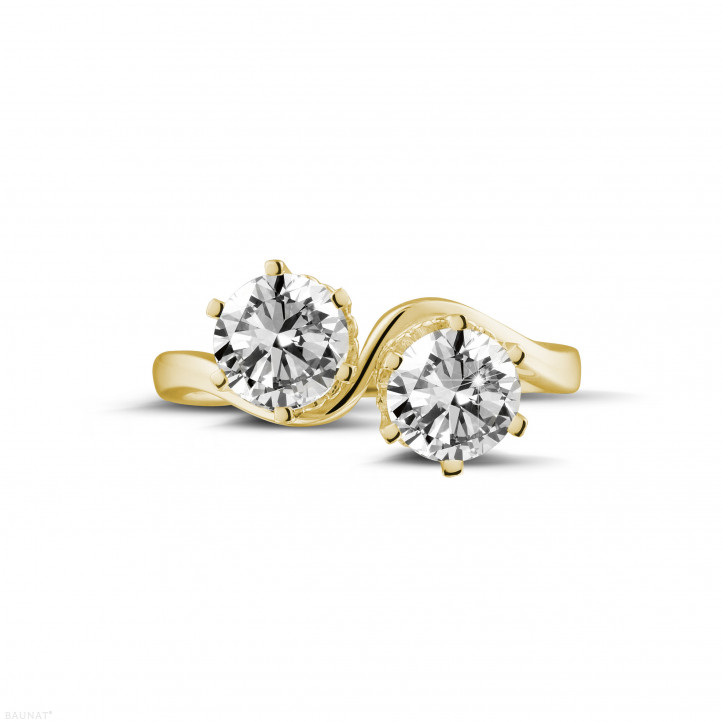 1.50 karaat diamanten Toi et Moi ring in geel goud