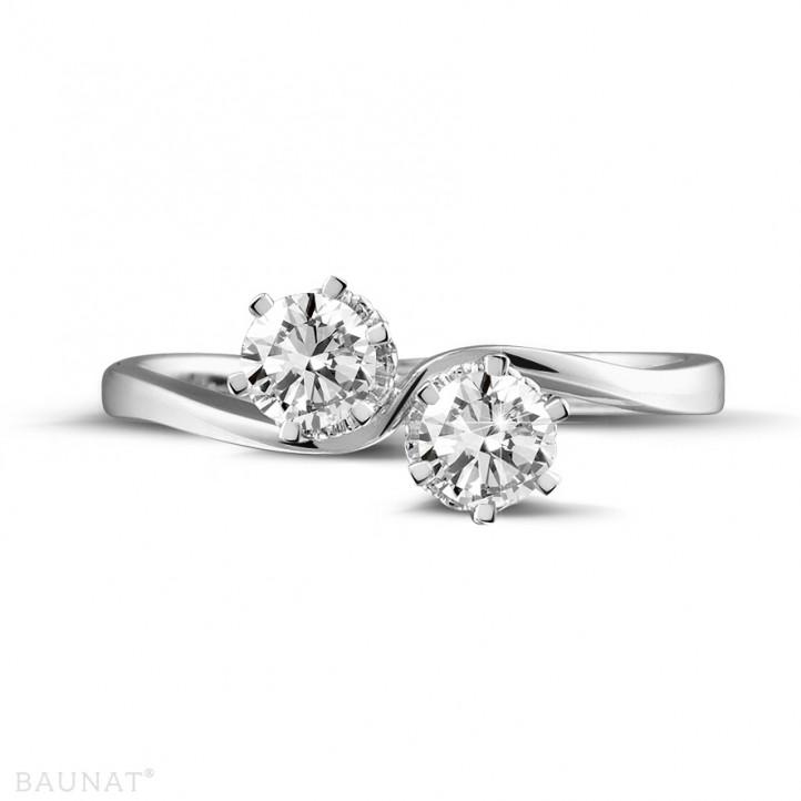 0.50 caraat diamanten Toi et Moi ring in platina