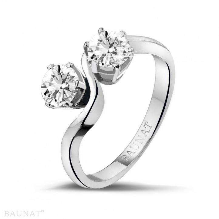 1.00 karaat diamanten Toi et Moi ring in platina