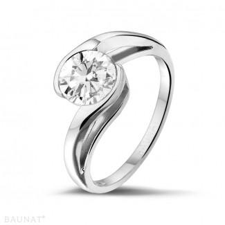 Platina Diamanten Ringen - 1.25 caraat diamanten solitaire ring in platina