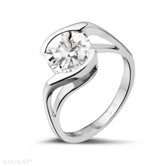 2.00 caraat diamanten solitaire ring in platina