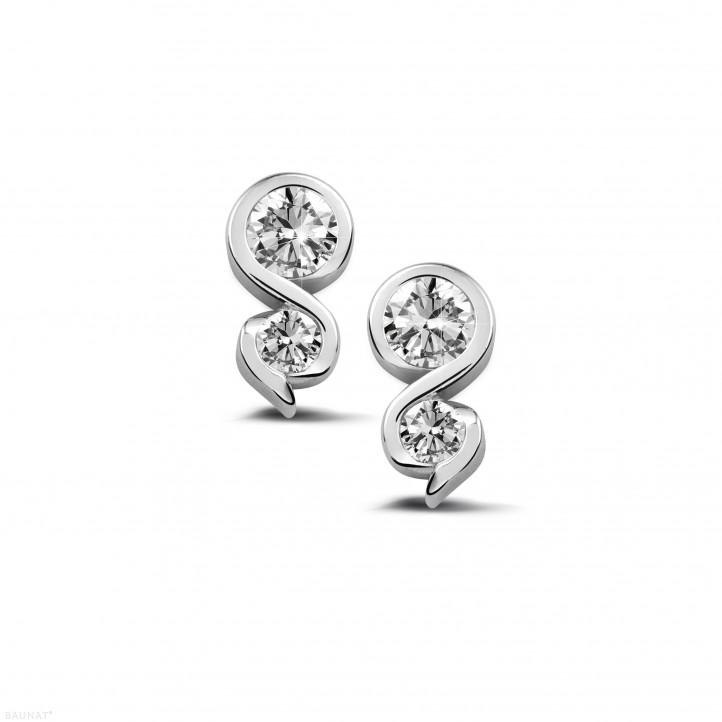 0.44 caraat diamanten oorbellen in platina