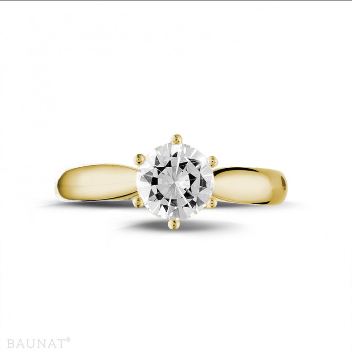 0.90 karaat diamanten solitaire ring in geel goud