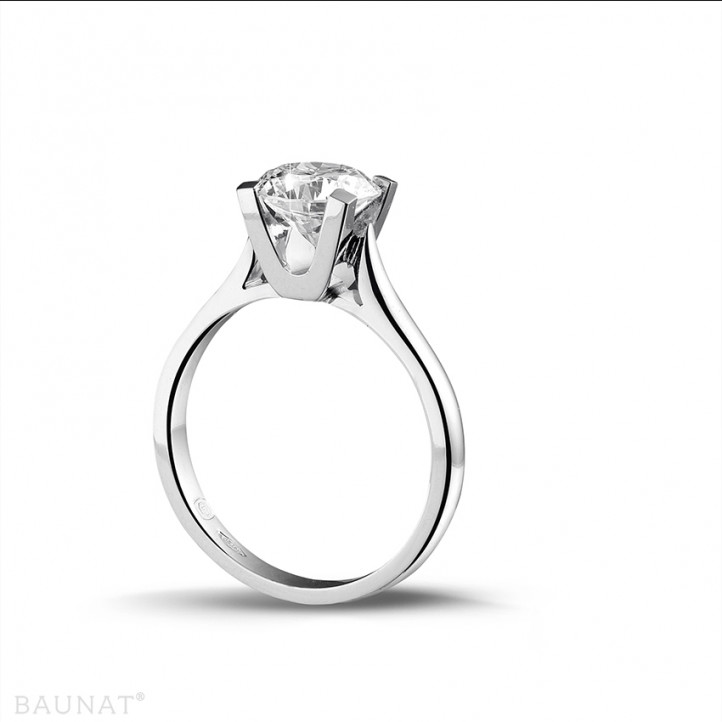 1.50 caraat diamanten solitaire ring in platina