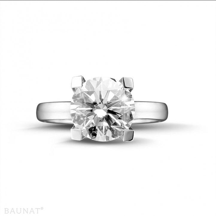 3.00 karaat diamanten solitaire ring in platina