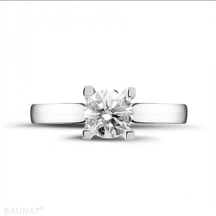 0.70 karaat diamanten solitaire ring in platina