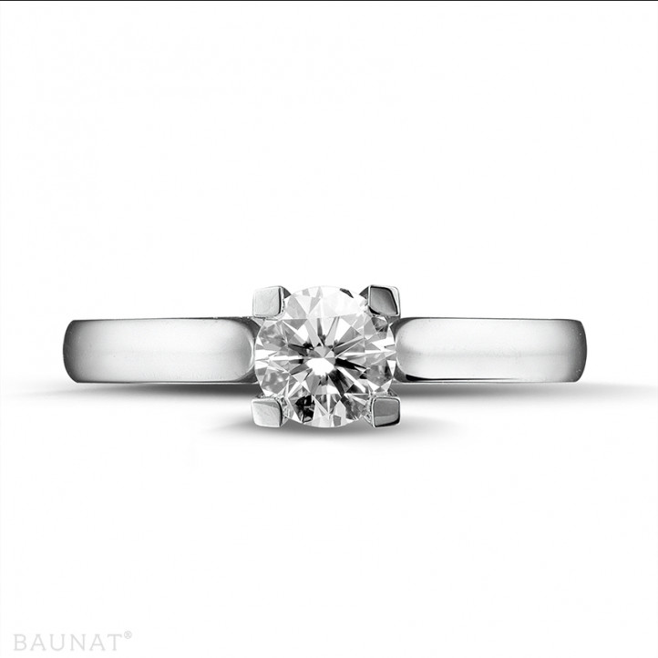 0.50 caraat diamanten solitaire ring in platina