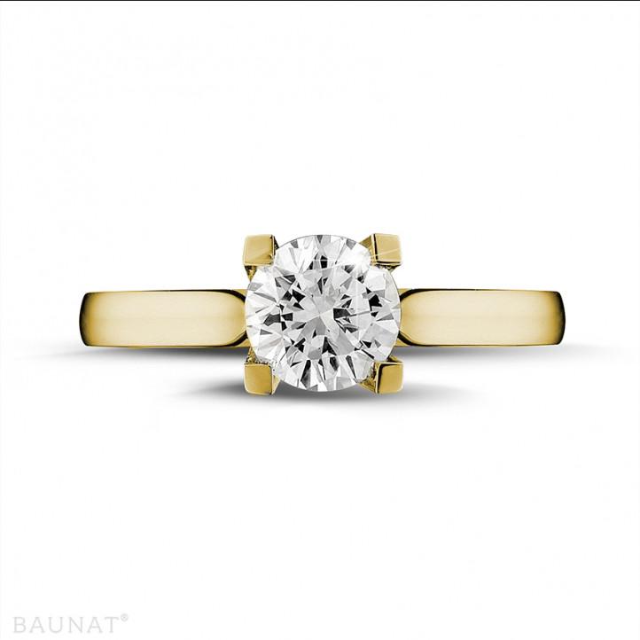 0.90 karaat diamanten solitaire ring in geel goud