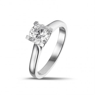 0.90 caraat diamanten solitaire ring in platina