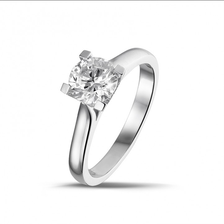 0.90 caraat diamanten solitaire ring in platina