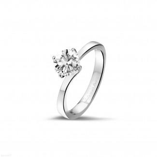 - 0.90 karaat diamanten solitaire ring in platina