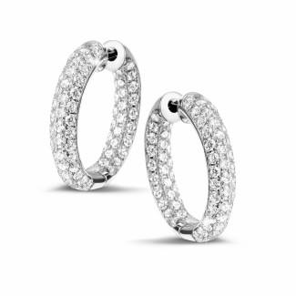 白金钻石耳环 - 2.15克拉白金密镶钻石耳环