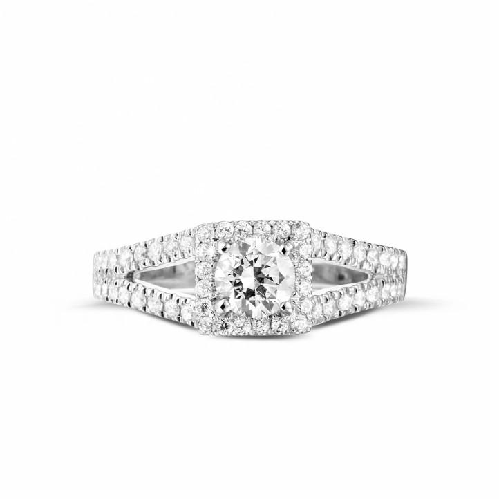 0.50克拉白金单钻戒指 - 巴黎铁塔款式 - 戒托密镶小圆钻