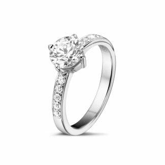 铂金钻戒 - 1.00克拉铂金单钻戒指 - 戒圈密镶小圆钻
