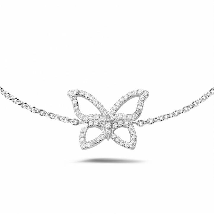 设计系列0.30克拉铂金密镶钻石蝴蝶手镯