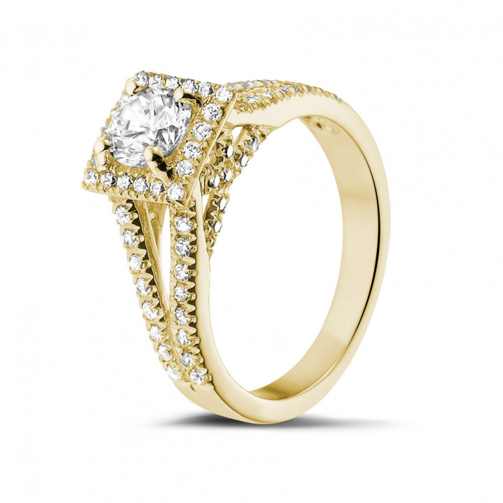 0.70克拉黄金单钻戒指 - 戒托群镶小钻