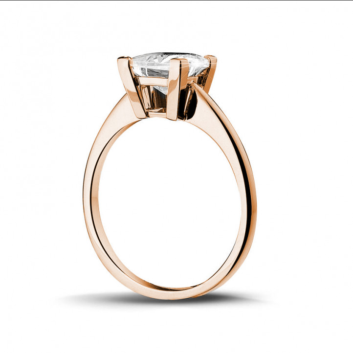 2.50克拉玫瑰金公主方钻戒指